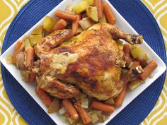 Slow Cooker Whole Chicken with Veggies - An easy and healthy weeknight dinner. - AIP