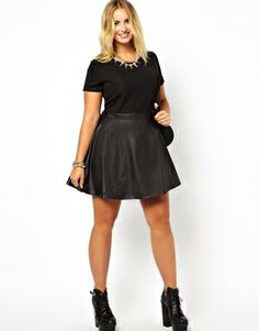 Image 4 of Alice & You Jersey Dress With Leather Look Skater Skirt