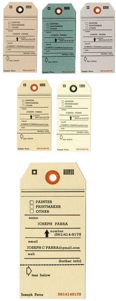 Letterpressed Hang Tag Business Cards of Joseph Parra. Um, great.
