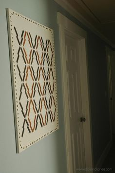 Get more bang for your stencil buck! Use 1 Stencil for 3 Different Projects (Canvas Wall Art, Fabric Drop Cloth Curtains, Wood Tray) Arrow Print Stencil by Royal Design Studio {via Dolen Diaries}