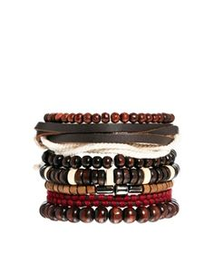 ASOS Bracelet Pack With Mixed Wooden Beads