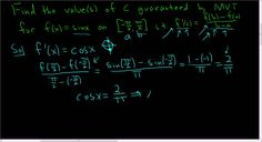 Finding value(s) of c in the Mean Value Theorem for f(x) = sin(x) on [-p...