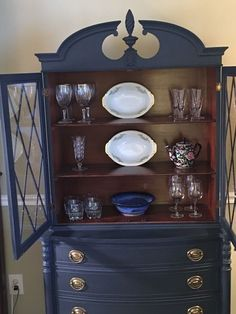 Lovely china cabinet painted in Midnight Blue Chalk Style Paint. New drawer pulls really popped against the blue. Inside was left in original finish. Refinished China Cabinet, Repurposed China Cabinet, Blue China Cabinet, Painted China Cabinets, Painted Bedroom Furniture, Blue Furniture, Refurbished Furniture, Painted Dressers, Painting Furniture