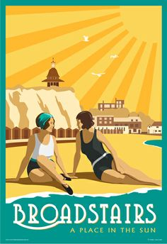 A beautiful vintage style poster/image of Broadstairs. Louisa Bay and Viking Bay with a green border Train Posters, Railway Posters, Art Deco Posters, Poster Prints, Art Prints, Broadstairs Beach, Retro, British Seaside, Beach Posters