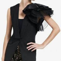 """BCBG Maxazria """"Alexandria"""" sleveless jacket (vest) Gorgeous vest with ruffle detail on one shoulder. Amazing statement piece! I love this vest but haven't had a chance to wear it. Tag says XXS but runs big. BCBGMaxAzria Jackets & Coats Vests"""