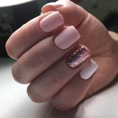 Matte pink, rose gold glitter, and white nails make for the most perfect manicure. Love the short, square shape on these stunning natural nails. Rose Gold Nails, White Nails, Pink Nails, Glitter Nails, My Nails, Matte Pink, Gold Glitter, Short Nail Manicure, Manicure E Pedicure