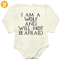 I Am A Wolf And Will Not Be Afraid Quote Baby Long Sleeve Romper Bodysuit Extra Small - Baby bodys baby einteiler baby stampler (*Partner-Link)