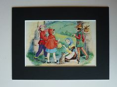 Vintage 1950s Fairytale Print - Fairy Tale Decor - Retro Illustration - Little Red Riding Hood Art - Fairy Tale Art Print - Dick Whittington by PrimrosePrints on Etsy https://www.etsy.com/listing/162988019/vintage-1950s-fairytale-print-fairy-tale
