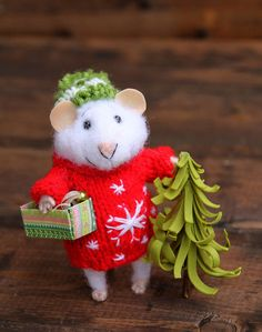 needle felted christmas mouse in sweater with christmas tree and box of hristmas tree balls, winter mouse,  felted mouse, needle felted by HouseOFFeltMouse on Etsy https://www.etsy.com/listing/469195450/needle-felted-christmas-mouse-in-sweater