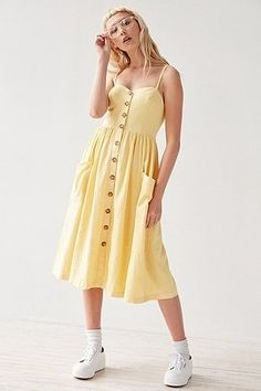 Urban Outfitters Emilia Linen Button-Down Midi Dress #UOSpring #UrbanOutfitters #Dresses #Spring #Yellow #UOEurope