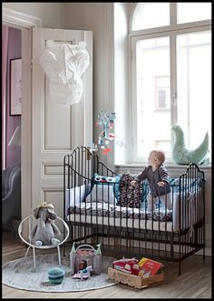 I've always been a big fan of iron cribs. There's something regal and timeless about them. Iron cribs have an old-world charm regardless of the bedding you Baby Boy Rooms, Little Girl Rooms, Nursery Room, Nursery Decor, Nursery Design, Nursery Ideas, Iron Crib, Cool Kids Bedrooms, Kids Rooms