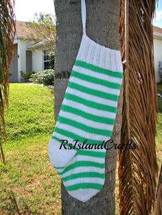 Knit green and white striped Christmas Stocking 2 foot long! | rsislandcrafts - Seasonal on ArtFire