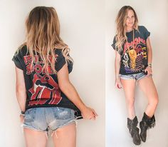 faded vintage old band tee with levis cutoffs and black fringe boots- perfect festival outfit-  by ClassicRockCouture