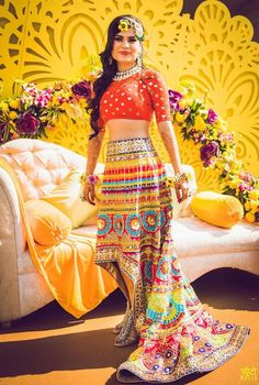 Are you looking for some off-beat multicoloured Lehenga Designs for a wedding ceremony? We've handpicked some of the best Multicolor Lehenga designs. Indian Wedding Outfits, Bridal Outfits, Indian Outfits, Bridal Dresses, Indian Clothes, Indian Weddings, Mehndi Clothes, Lehenga Skirt, Lehenga Choli