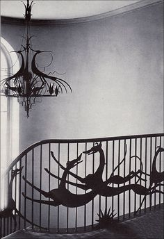 Art Deco Stairway and chandelier by Hunt Diederich; commissioned by Mrs. Harry C. Cushing III for a house located at Syosset, Long Island. The architects were Delano and Aldrich. The photo appeared in a 1927 House & Garden. --American Vintage Home Greyhound Kunst, Art Nouveau, Stairway To Heaven, Art Deco Design, Dog Art, Stairways, Sculpture, Home And Garden, House Styles