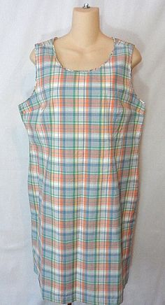 """LL Bean Womens Petite Kennebunkport Plaid Coral Sundress Size14P. Collar to Hem~35"""". Side Zip & Hook. Body~100% Cotton.Lining~65% Polyester 35% Cotton. If You Should Encounter Any Issues With Your Order. 