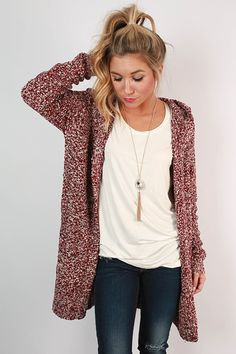 Pumpkin Spice Cuddles Cardigan in Cabernet