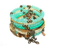 Turquoise gold bracelet, gold bronze charm bracelets, trendy bracelet, beaded bracelet with charm, turquoise crystal bracelet, wrap braclets