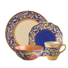 16 piece blue dinnerware set, service for four, includes (4) each: 11 inch dinner plate, 8 inch blue salad plate, 24 ounce fleur soup cereal bowl, 10 ounce perfect coffee...