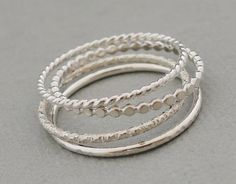 Sterling Silver Rings Stacking Rings set of 4 thin silver