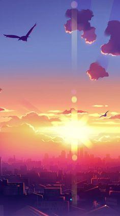 Anime HD Widescreen Wallpapers   Anime Sunset Scenery Artwork wallpaper www.fabuloussaver... #LandscapeWallpaper