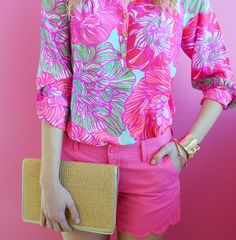 Lilly Pulitzer Elsa Top in Worth It, Buttercup Scallop Hem Shorts, Sea Treasure Cuff & Happy Hour Clutch- love the entire pink look