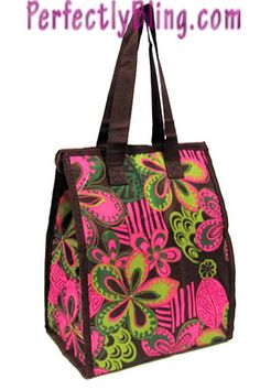 SCHOOL LUNCH TOTE -  BRIGHT PINK AND BROWN FLOWER PATTERN $10.99