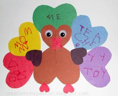 "Gratitude/Thankful Heart Turkey: My 3rd graders keep asking what we're ""doing for Thanksgiving"" . . . I think this is it.  I <3 hearts"