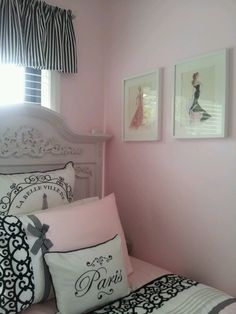 Paris bedroom- we love pink and black together. Perfect combination for your tween who's not a little girl anymore but not yet a big girl either!