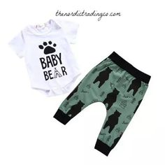 68a88436995 Baby Bear Gift Set Pants Boy s Olive Black Bears Baby Shower Gift Ideas Infant  Newborn 0 6 mo Boys Outfits Gifts Bottoms Clothes Bodysuit Onesie