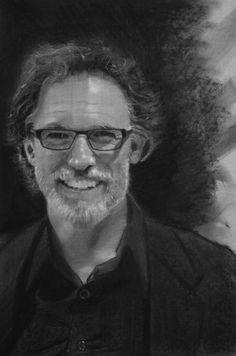 Portrait of an art professor.  charcoal on paper 14 x 17