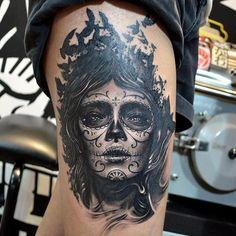 Dark sugar skull tattoo