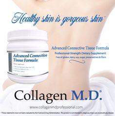 Collagen M.D.® Advanced Connective Tissue Formula is an extra-strength dietary supplement powder that's a source of 12,000 mg hydrolyzed collagen type I & III and 200 mg hyaluronic acid with 4 collagen-enhancing vitamins per 2 scoop serving to support healthy skin from within.* Made in the USA under strict cGMP guidelines. Free of gluten, dairy, soy, sugar, fillers and preservatives #CollagenMD #ProfessionalSupplements #professionalskincare