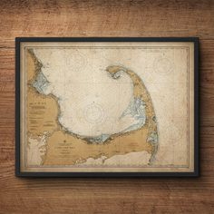 This detailed nautical map of Cape Cod, Massachusetts adds a beautiful charm to any room. The print is restored from a historical chart used by real sailors and mariners. Ive also antiqued the background with a delicate patina to give it a more vintage feel. This listing is for an