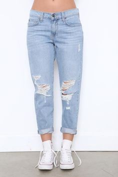 "Faded and distressed boyfriend jean. Five pocket construction. Front button and zipper fly closures. Style #: P8520 Material: Cotton Color: ""Rampid"" (Blue) Model is wearing a size 27 Boyfriend Fit Jeans, Mom Jeans, Ripped Jeans, Final Sale, Dream Closets, Chic, Fashion Outfits, Polyvore, Pants"