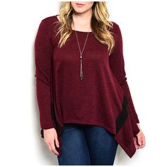 a3ac9ced3ab7c3 JED Women s Red Polyester and Spandex Plus Size Long Sleeve Trapeze Tunic Plus  Size Chic