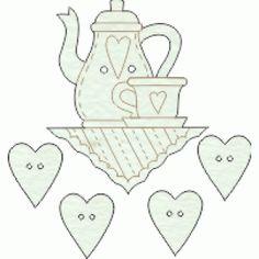 Lovely de mdf pintado a mão mesa de chá com 4 corações cor 01