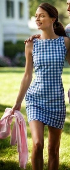 Beautiful blue and white plaid dress