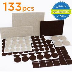 X-PROTECTOR Premium TWO COLORS Pack Furniture Pads 133 piece! Felt Pads Furniture Feet Brown 106 + Beige 27 of various sizes - BEST wood floor protectors. Protect Your Hardwood & Laminate Flooring - - Amazon.com