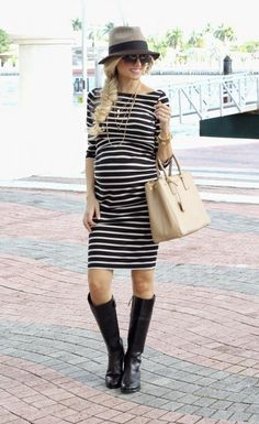 @roressclothes closet ideas #women fashion outfit #clothing style apparel black striped Maternity Dress