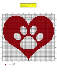 Pet paw heart cross stitch pattern / chat patte coeur grille point de croix