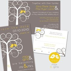Another favorite yellow and gray wedding invitation set.