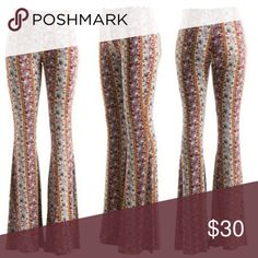 ❗️COMING SOON❗️  Boho Print Flare Pants- Wine MORE DETAILS COMING. 96% Rayon, 4% spandex. Made in USA Fashionomics Pants Boot Cut & Flare