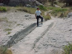 Oregon Trail wagon wheel ruts at Guernsey, Wyoming