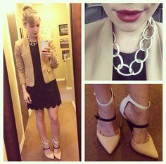 Dress: Marshall's, Blazer: Jones NY via Gabes, Necklace: Charlotte Russe, Pumps: ShoeDazzle, Lip Color: Revlon Red Velvet