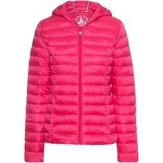 JOTT - JUST OVER THE TOP Chloe Down Fushia // Quilted light down... ($210) ❤ liked on Polyvore featuring outerwear, jackets, slim fit jacket, waterproof hooded jacket, quilted jacket, pink jacket and lightweight down jacket