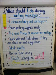 I came across this and I think these little responsibilities are so cute! I think that it can help students refer back to it and know what they need to be doing when they are writing in their journals.
