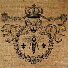 Queen Bee Crown Ornate Frame Digital Image Download Transfer To Pillows Tote Tea Towels Burlap No. 1423 via Etsy