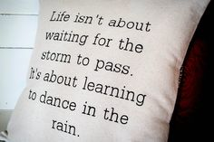 """Stenciled Canvas Pillow - 18"""" Pillow - Home Decor - Dance in the Rain - Wedding or Bridal Shower by JoaniesFavoriteThing on Etsy"""