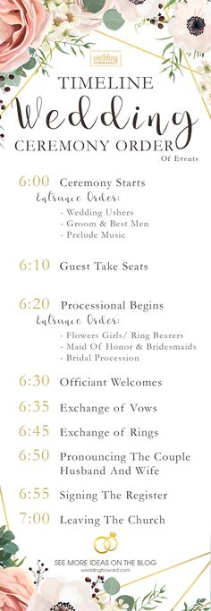 Wedding Ceremony Order Of Events Ideas (INFOGRAPHIC) ❤︎ Wedding planning ideas & inspiration. Wedding dresses, decor, and lots more. planning inspiration 5 Wedding Ceremony Order Of Events Ideas (INFOGRAPHIC) Wedding Ceremony Ideas, Wedding Ushers, Order Of Wedding Ceremony, Civil Wedding, Wedding Programs, Wedding Dresses, Wedding Ceremonies, Wedding Dances Order, Simple Wedding Ceremony Script
